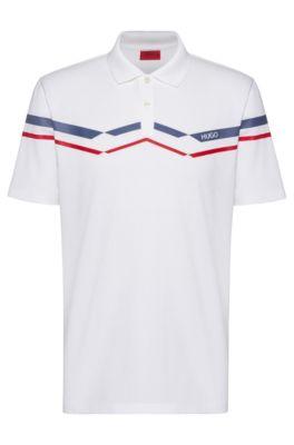Poloshirt aus gestricktem Baumwoll-Piqué mit Chevron-Streifen, Weiß