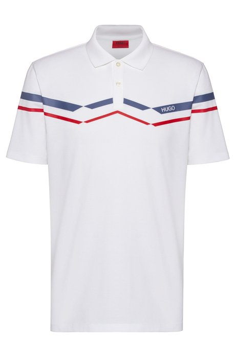 Polo shirt in knitted cotton piqué with chevron stripes, White