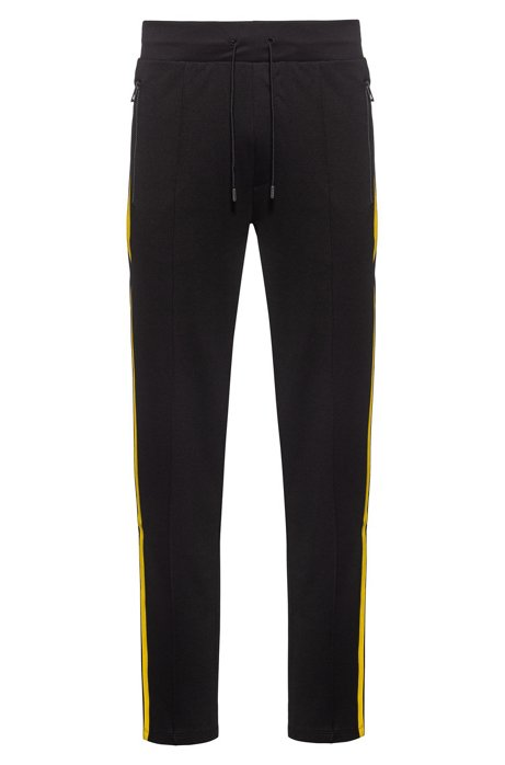 Relaxed-fit jogging trousers with printed side stripes, Black