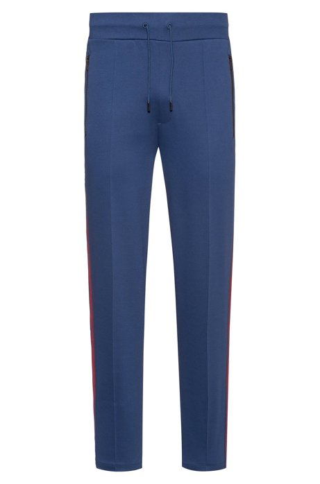 Relaxed-fit jogging trousers with printed side stripes, Blue