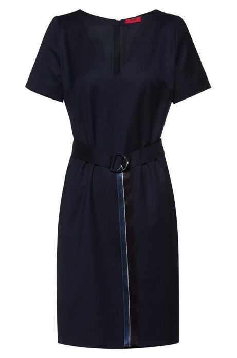 V-neck flannel dress with striped D-ring belt, Dark Blue