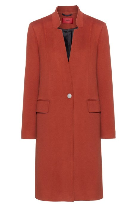 Regular-fit blazer-style coat with reverse lapels, Brown