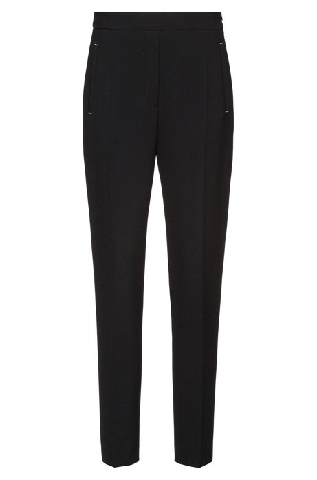 Cigarette trousers in stretch fabric with hardware details, Black