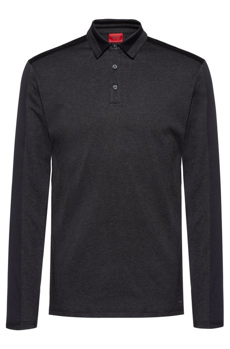 Slim-fit polo shirt in lightweight mercerised cotton, Black