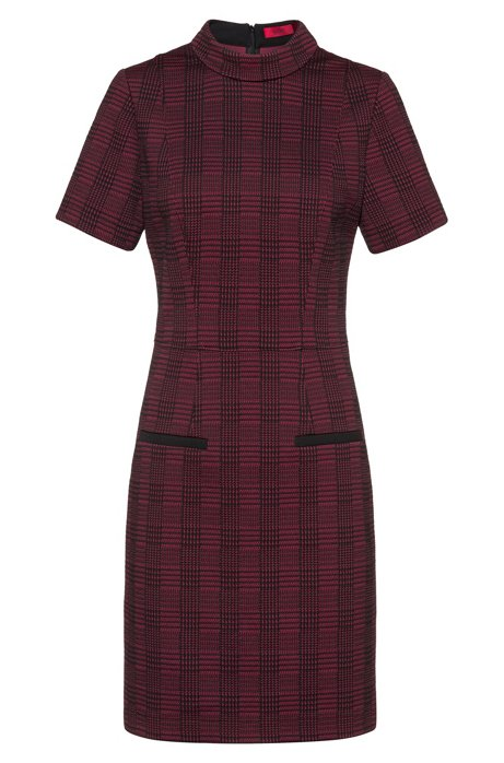Stand-collar dress in checked fabric with piped pockets, Patterned