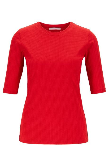 T-shirt Slim Fit en tissu stretch à carreaux, Rouge