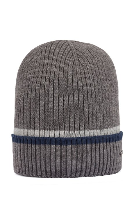 Ribbed beanie hat in cotton and wool, Grey