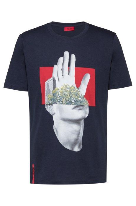 Regular-fit T-shirt van katoen met fotografische print , Donkerblauw