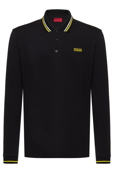 Regular-fit polo shirt with reverse-logo embroidery, Black