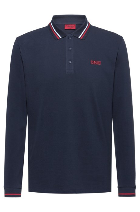 Regular-fit polo shirt with reverse-logo embroidery, Dark Blue