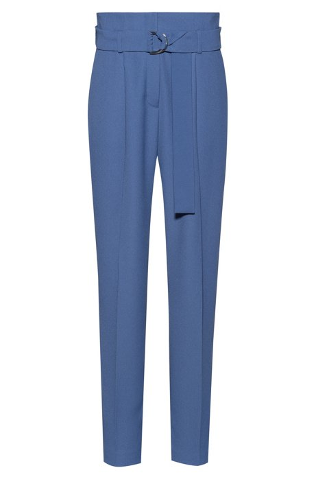 Belted trousers with paper-bag waist, Blue
