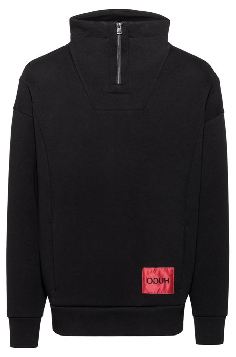 Relaxed-fit sweatshirt in cotton with zipped turtleneck, Black
