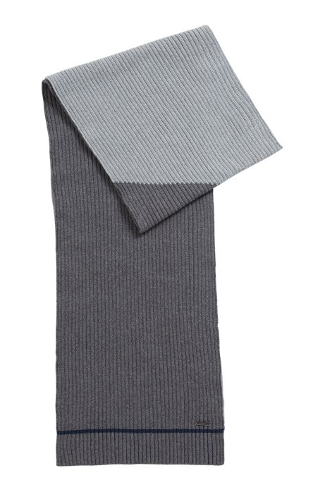 Striped scarf in a melange-blocked cotton blend, Grey