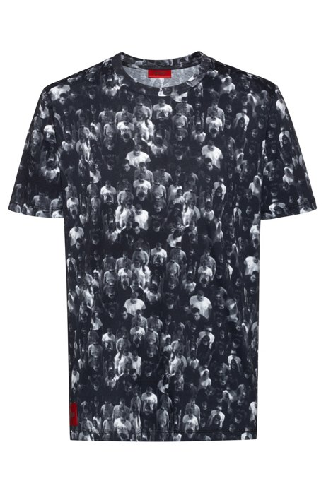 Relaxed-fit T-shirt in cotton with crowd print, Patterned