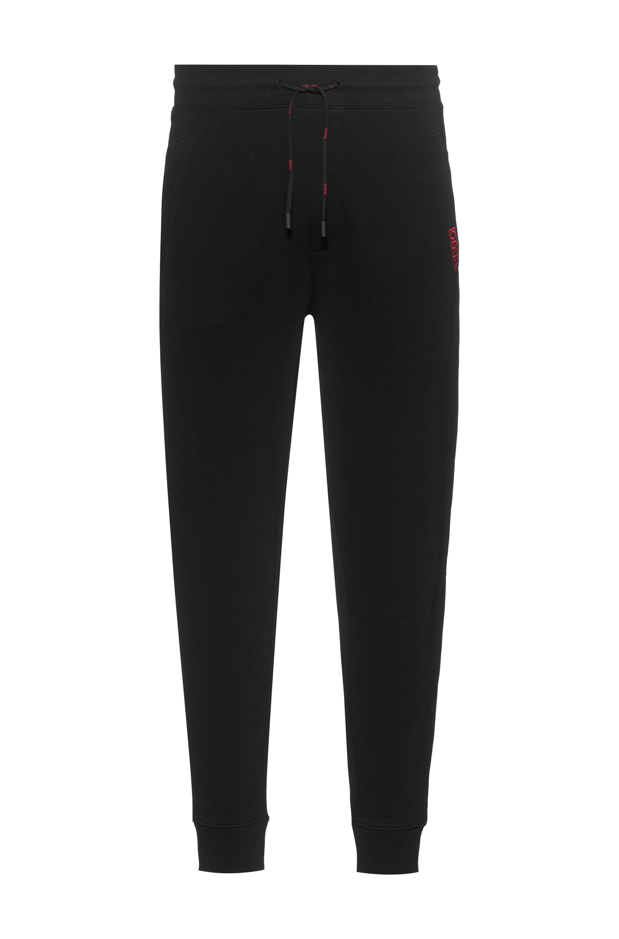 Cotton-terry tracksuit bottoms with reversed logo, Black