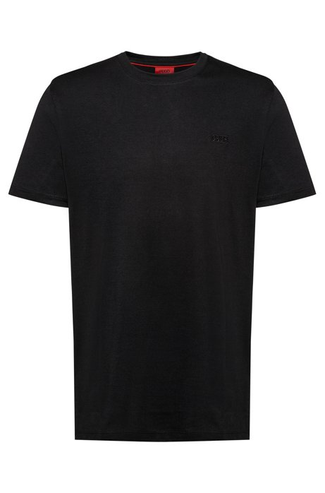 Regular-fit T-shirt with reverse-logo embroidery, Black