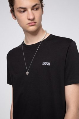 T-shirt Regular Fit avec logo inversé brodé, Noir