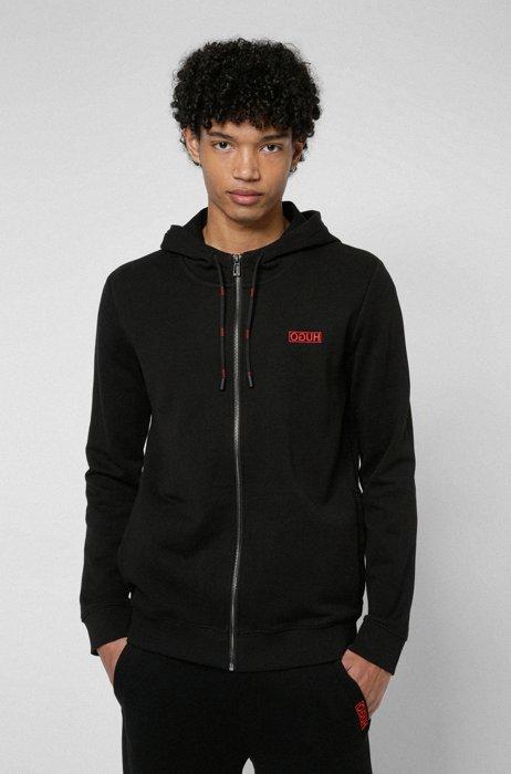 Kapuzen-Sweatjacke aus Baumwolle mit aufgesticktem Reversed-Logo, Schwarz