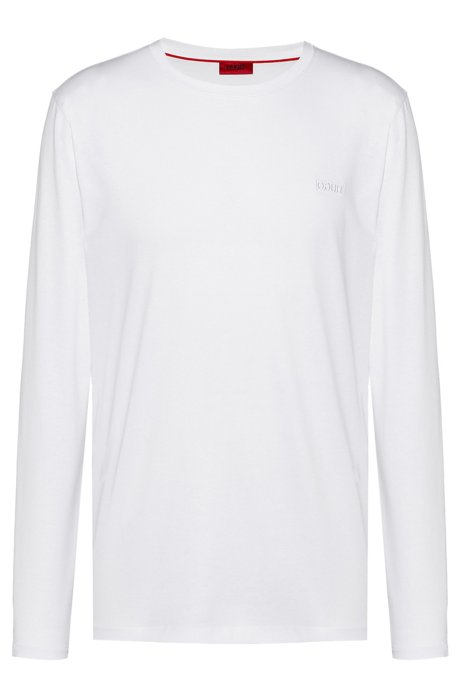 T-shirt regular fit con logo reversed ricamato, Bianco