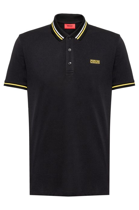 Cotton-piqué polo shirt with contrast tipping stripes, Black