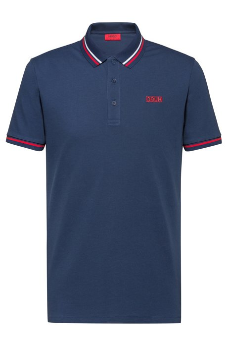 Cotton-piqué polo shirt with contrast tipping stripes, Blue