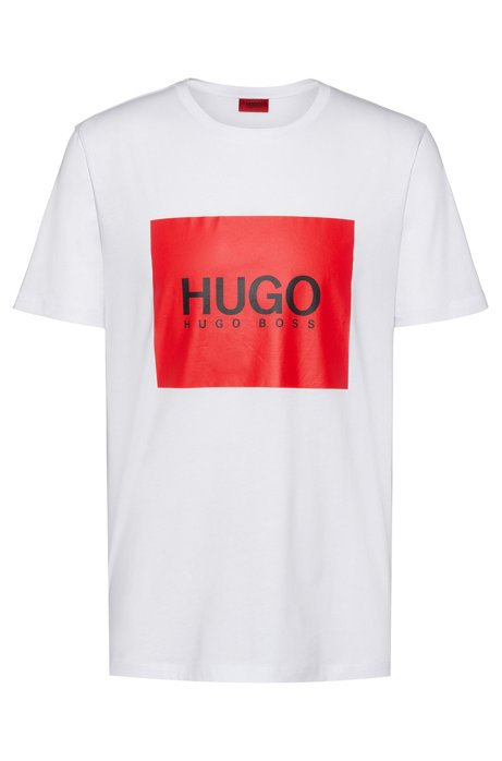 Regular-fit T-shirt in cotton with contrast logo square, White