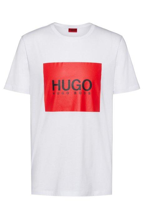 Regular-fit T-shirt van katoen met contrasterend logovlak, Wit