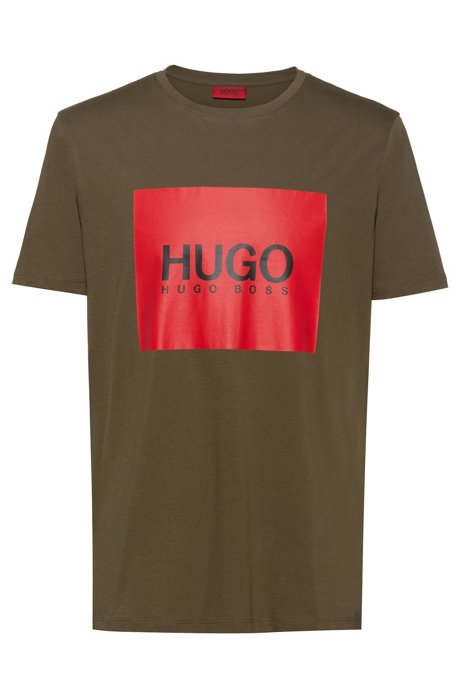 Regular-fit T-shirt in cotton with contrast logo square, Dark Green