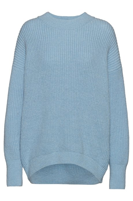 Dropped-shoulder sweater with dipped back hem, Light Blue