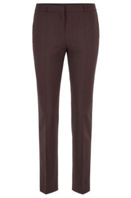 Pantaloni regular fit in lana vergine elasticizzata italiana, Marrone scuro