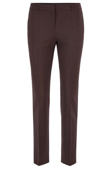Regular-Fit Hose aus italienischer Stretch-Schurwolle, Dunkelbraun