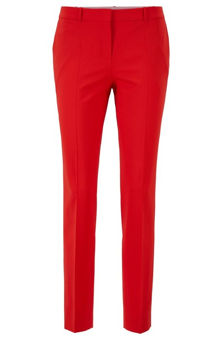 Pantalon Regular Fit en laine vierge stretch italienne, Rouge