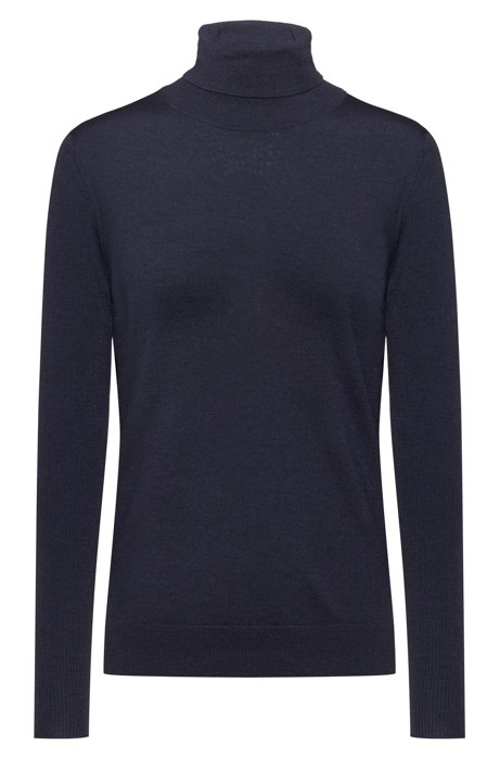 Regular-fit sweater in cashmere-touch merino, Dark Blue