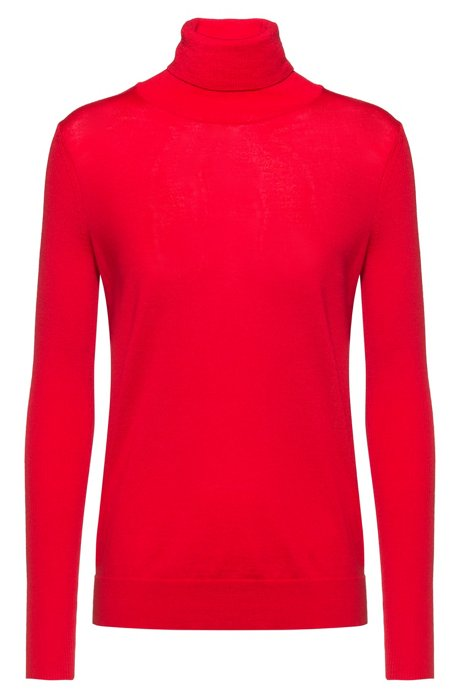 Regular-fit sweater in cashmere-touch merino, Red