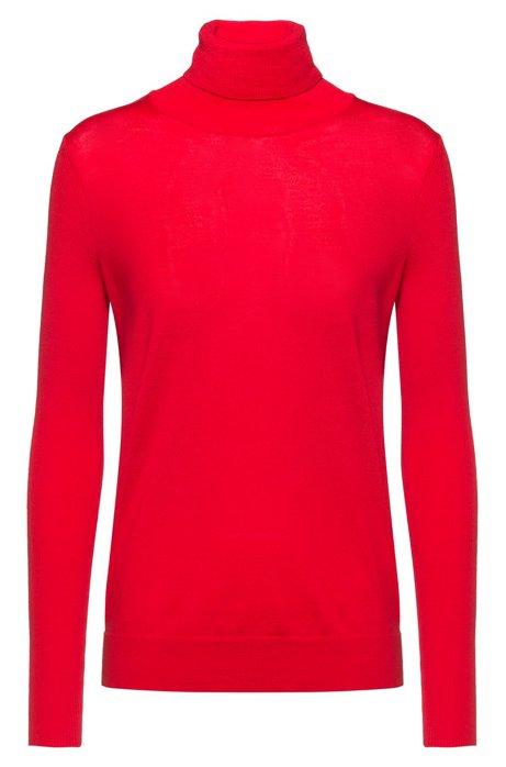 Maglione regular fit in lana merino effetto cashmere, Rosso
