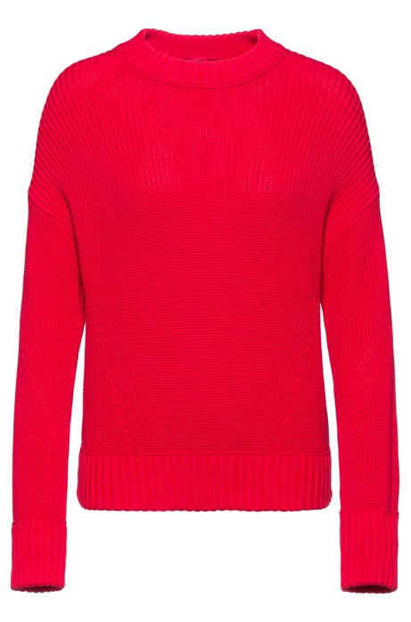 Relaxed-fit knitted sweater in pure cotton, Red