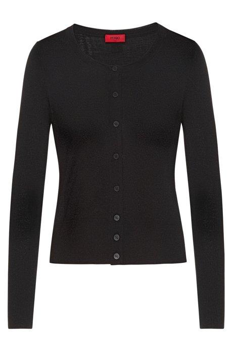 Button-through cardigan in extra-fine merino wool, Black