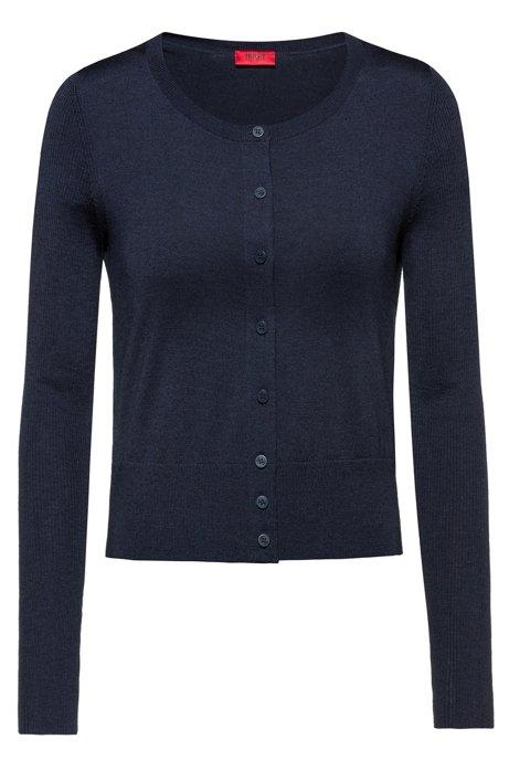 Button-through cardigan in extra-fine merino wool, Dark Blue