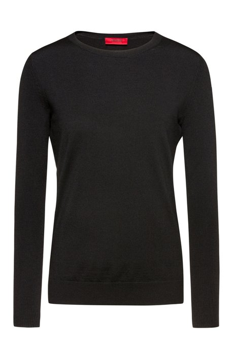 Crew-neck sweater in cashmere-touch merino, Black
