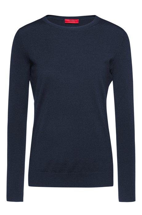 Crew-neck sweater in cashmere-touch merino, Dark Blue