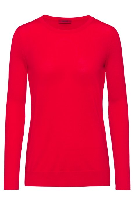 Crew-neck sweater in cashmere-touch merino, Red