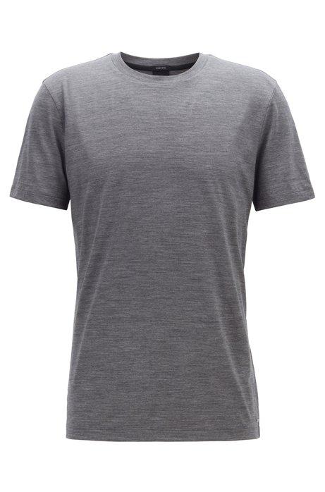 Regular-fit T-shirt in traceable Italian wool, Grey
