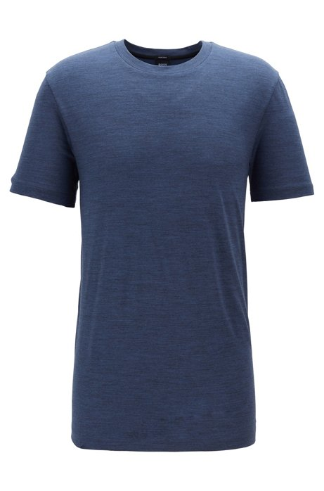 Camiseta regular fit en lana italiana con trazabilidad, Azul