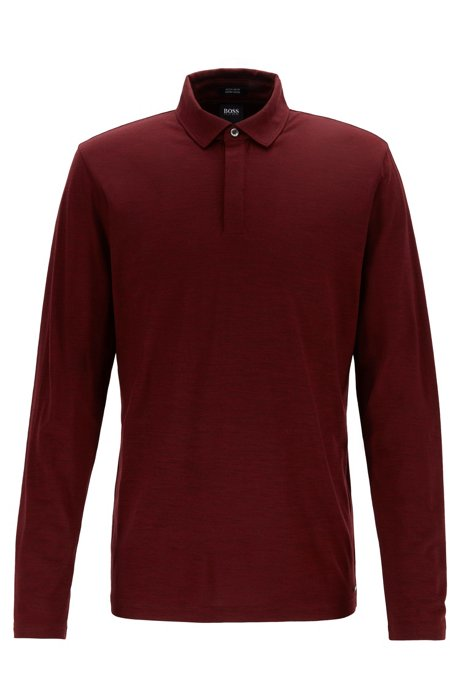 Long-sleeved polo shirt in traceable virgin wool, Dark Red