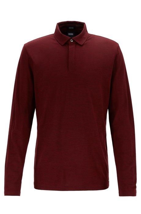 Longsleeve-Poloshirt aus nachverfolgbarer Schurwolle, Dunkelrot