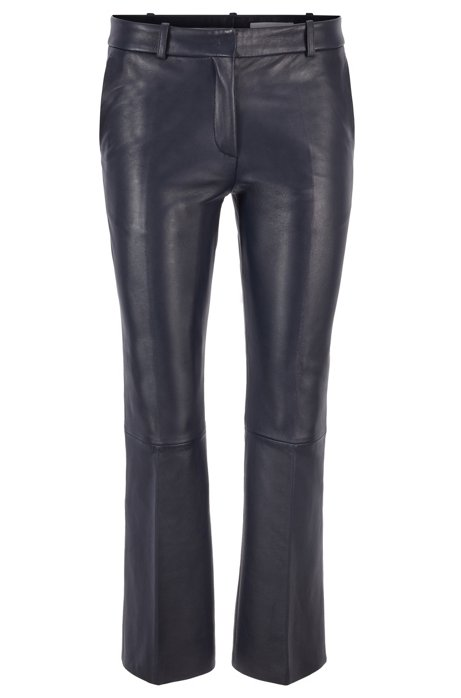 Regular-fit cropped trousers in nappa leather, Dark Blue