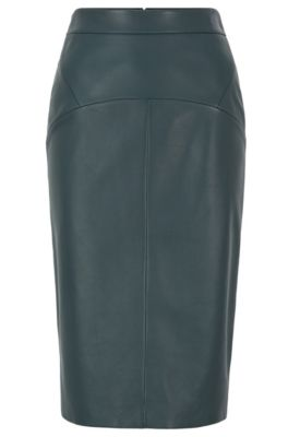 Regular-fit pencil skirt in lamb leather, Dark Green