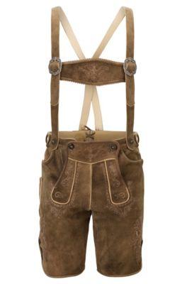 Lederhosen en ante pesado con largo hasta la rodilla y costuras decorativas, Beige