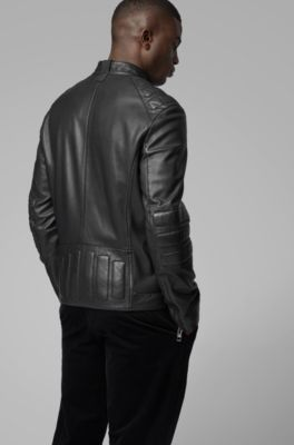 fa48eeb76 Leather biker jacket with quilted panels