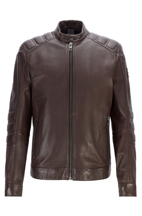 Leather biker jacket with quilted panels, Dark Brown
